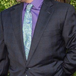Samuelsohn 2 Button Suit - 2 PC (grey/blue pane)
